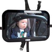 Autospiegel baby - verstelbare spiegel hoofdsteun autostoel achterbank - veiligheidsspiegel - baby en kids - 19 x 30cm - 360 graden draaibaar - zwart