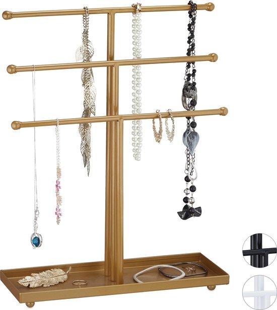 relaxdays sieradenhouder metaal - sieradenrekje - sieradenstandaard - voor kettingen zwart