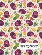 Sketchbook: Funny Purple Hedgehog Fun Framed Drawing Paper Notebook