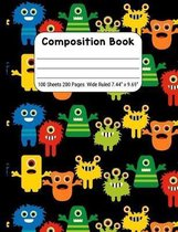 Composition Book Wide Rule, Monsters on Black: Journal Notebook for School Home or Work