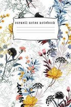 Cornell Notes Notebook: Notes Taking System for High School Adult Student with College Ruled Lines Composition with Floral Seasonal Theme
