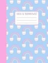 Cats & Rainbows!: Wide Ruled Composition Notebook