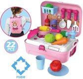 Speelgoed Meisjes 3 jaar | Keuken speelgoed meisje | Mobiele Keuken - Roze – 25 x 20 x 10 cm | Keuken Speelgoed – 3 jaar  - Roze