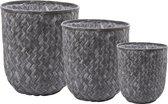 Grijze rieten bloempot/mand CONFUSE (set van 3) - diameter 14 cm & 17 cm & 25 cm - D&M