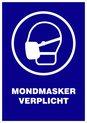 Pictogram Sticker Mondmasker verplicht - Corona Sticker - Afstand houden - 2 x A4 Sticker