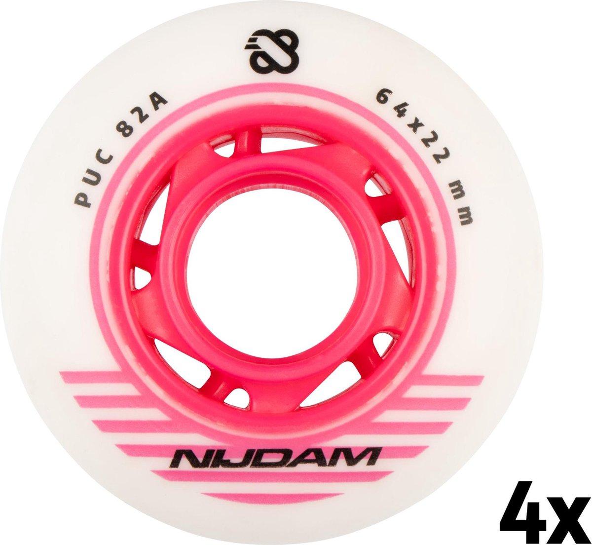 Nijdam Inline Skate Wielen Set - 64x22 mm - 4st - White - Wit/Roze/Zwart