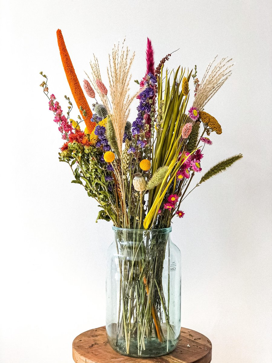 Droogbloemen boeket   Bonte mix   75 cm hoog