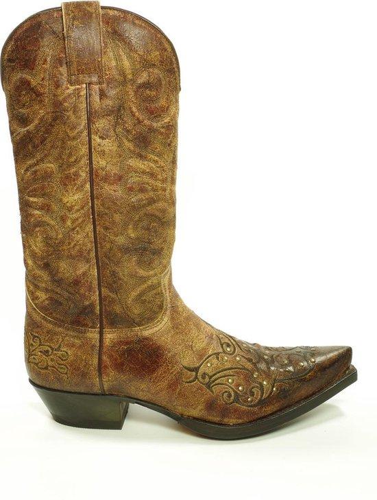 Sendra 11472 Cuervo Bruin Handgemaakte Spitse Cowboy Laarzen Schuine Hak Sierstiksel Studs Vintage look Echt Leer leer