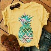 Merkloos / Sans marque T-shirt geel ananas - dames - vrouw - kleding - mode - shirt - korte mouw - Dames T-shirt Maat S
