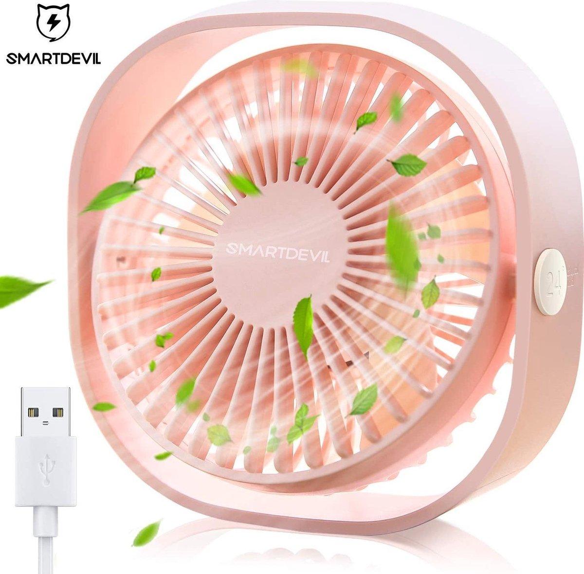 SmartDevil USB Ventilator Tafelventilator Roze Stille Mini Usb Fan Bureau Ventilator Bed Ventilator Luchtkoeler Klein, Stil en Geruisloos