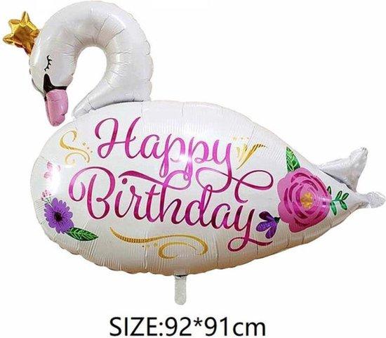 Folieballon GROTE Zwaan Happy Birthday (31198)