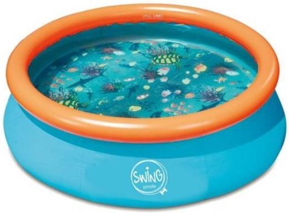 Opblaaszwembad Swing 3.05 x 76 cm rond - opblaasbaar - met 3D vissen bodem