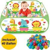 Decopatent® Ballenbak Incl 40 Stuks Ballenbak ballen - Dieren trein print - Baby - Peuter - Ballenbak met 40 ballen voor ballenbak