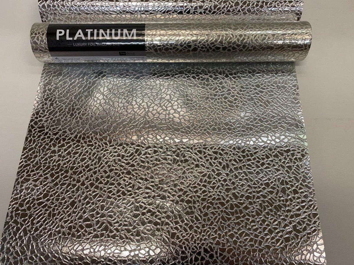Platinum - vinylbehang - zilver print