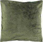 Fluwelen Kussen 50x50 cm Groen Met naam of tekst Geborduurd