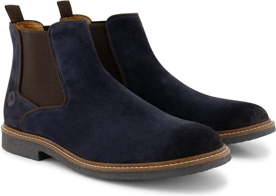 Travelin' Glasgow Chelsea - Halfhoge Suede leren herenschoen - boot - Nette schoenen - Blauw leer - Maat 45