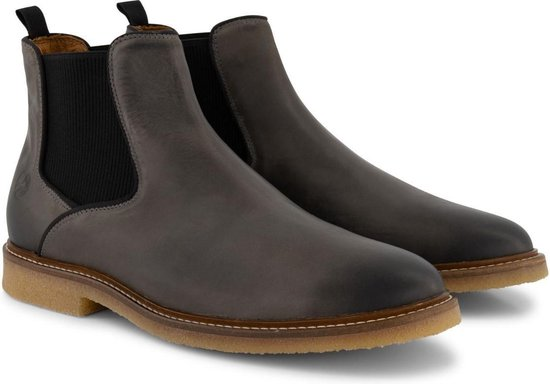 Travelin' Glasgow Chelsea - Halfhoge Leren herenschoen - boot - Nette schoenen - Donkergrijs Leer - Maat 46
