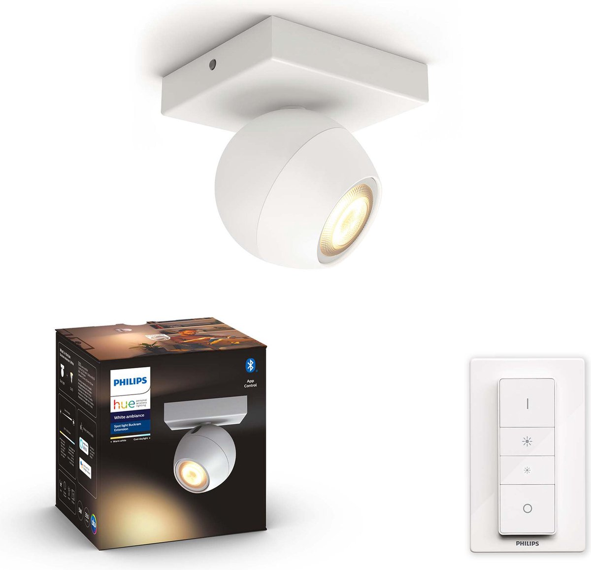 Philips Hue - BUCKRAM single spot white 1x5.5W 230V - White Ambiance - Bluetooth Dimmer Included