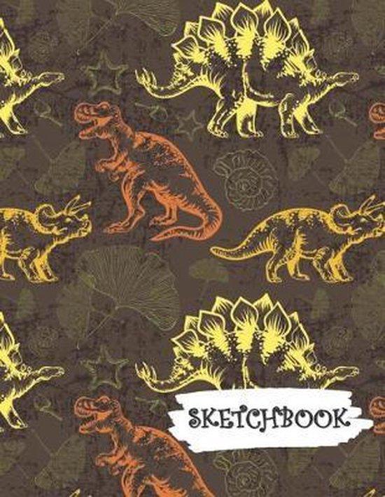 Sketchbook: Yellow Orange Dinosaur Fun Framed Drawing Paper Notebook