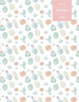 Dot Grid Notes 110 Pages: Cactus Floral Notebook for Professionals and Students, Teachers and Writers - Succulent Pattern - Pastel Cactus Waterc
