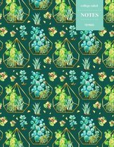 College Ruled Notes 110 Pages: Cactus Floral Notebook for Professionals and Students, Teachers and Writers - Green and Blue Cactus Pattern with Moder