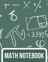 Math Notebook: Graphing Paper Composition Notebook - 4 x 4 Grid per Inch