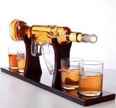 Luxe Whiskey Karaf Set - AK47 Whisky Karaf Set - Inclusief 4 Whisky Glazen en Schenktuit