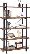 MIRA Home - Boekenrek - Vakkenkast - 5 Planken - Rustiek - Hout/Metaal - Bruin/Zwart - 105x33.5x177.5