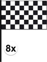 8x Finish vlaggen zwaaivlag 30 x 45 cm - Race circuit vlaggen - Autorace vlag