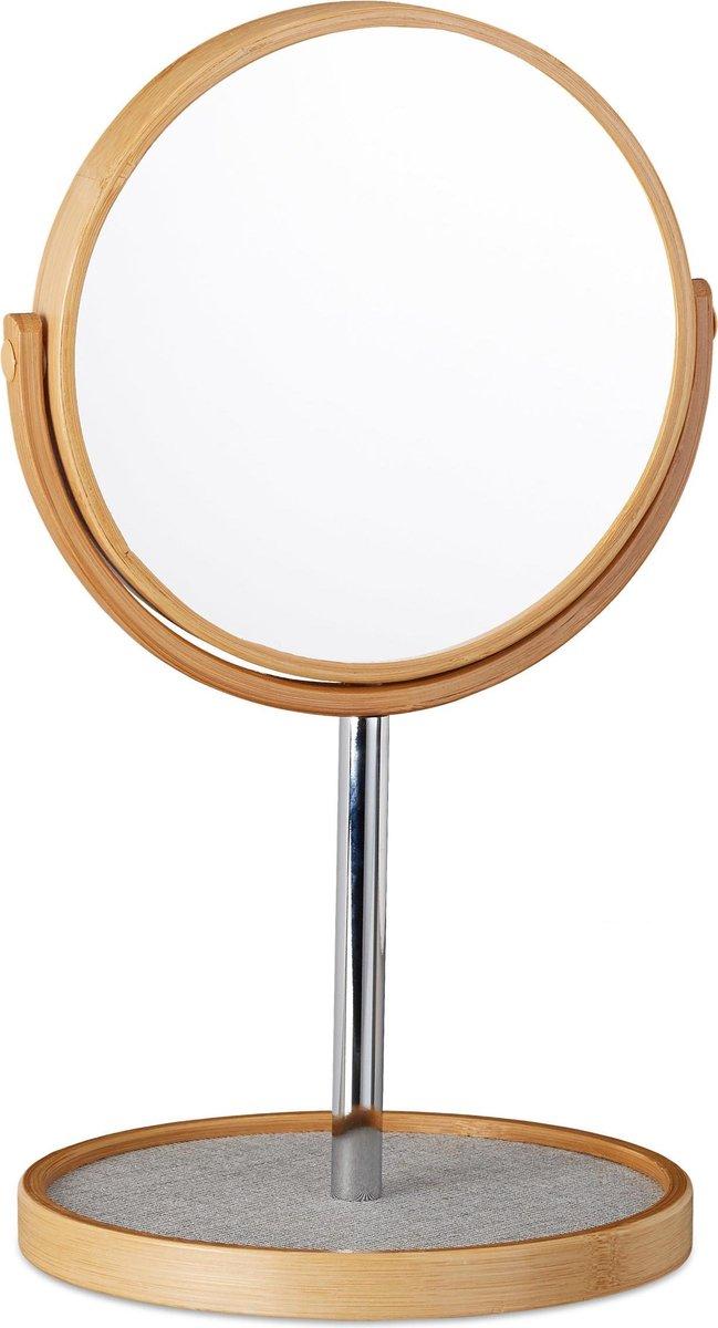 relaxdays make-up spiegel met vergroting - scheerspiegel - bamboe - rond - vrijstaand - Relaxdays