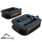 Fiets pedalen - Anti slip - Trappers voor fiets met reflector - 14.2mm schroefdraad - 9/16 Inch -Zwart