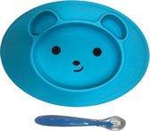 KidZzz Bordje met zuignap + baby lepel – placemat met geïntegreerd bord – antislip placemat – siliconen – blauw