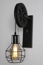 Industriële wandlamp Zwart   Katrol lamp vintage   lamp industrieel   muurlamp binnen   Wandverlichting metaal hout   Wandverlichting   Loft   Vintage katrollamp   Industrieel voor binnen   E27 Fitting