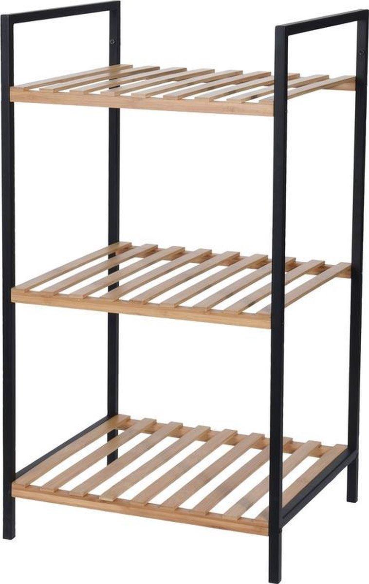 Bamboe houten badkamer kastje/trolley 70 cm - Badkamermeubels/badkamerkasten - Bijzetkastje met 3 plankjes
