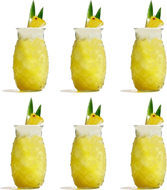 Libbey Drinkglas Tiki Pineapple - 510 ml / 51 cl - 6 stuks - grappig design - vaatwasserbestendig - hoge kwaliteit