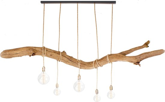 Houten Hanglamp 200cm Thomas Wood (Incl 5 LED spiraal lampen)