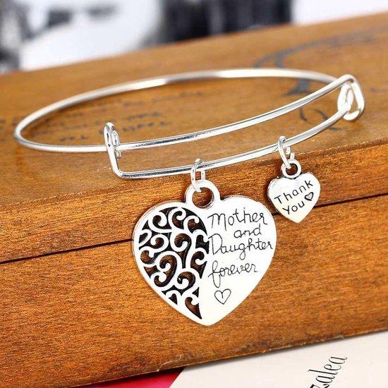 Goede bol.com | Moeder dochter armband zilverkleurig SP-68