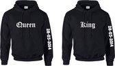 Setje hoodies King en Queen met datum | Truien met capuchon voor hem en haar | Romantisch cadeau voor zoveel jaar samen | Lief cadeau hoodies met King en Queen en datum | Huwelijks cadeau hoodies met datum van trouwdag.