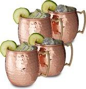 relaxdays moscow mule beker - set van 4 stuks - koperen beker - 500 ml - cocktailbeker