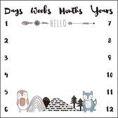 Mijlpaaldeken dieren incl frames - Zacht Fleece - Babyshower Cadeau - Milestone blanket