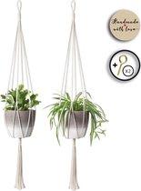 Moderne Plantenhanger 'Minimalist'  - Set van 2 - 105 CM - Handgemaakt Touw / Rope - Plantenhouder - Hangplant - Planten Accessoires - Handmade Plantenhangers - Planthanger - Voor binnen en buiten - Stijlvol je bloempot ophangen