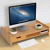 Monitor Verhoging Standaard - Laptop / PC Computer Scherm Verhoger - Bureau Beeldscherm Verhoging Stand - Met Lade & Opbergvak - Bamboe Hout