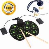 Elektronische Drumpads | Drumkit met percussiepad | USB Drumpad | Draagbare roller drum | Drumpad | Voor Beginners en Kinderen | Perfect cadeau | Inclusief pedalen voor Kickdrum en Hihat