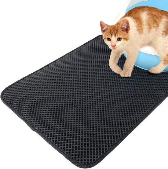Kattenbakmat- Grit opvanger -Dubbellaags -Waterdicht- Zwart - 40 x 50 CM