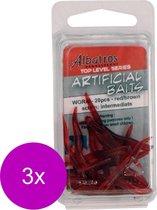 Albatros Artificial Worm - Baits - 3 x Rood Bruin 20 stuks Allround