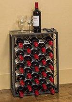 Stalen wijnrek met ruitpatroon plek voor 23 flessen 40x23x68cm   Stevig wijnrek slank design   Duurzaam materiaal   Eenvoudig te monteren   Wijnkast