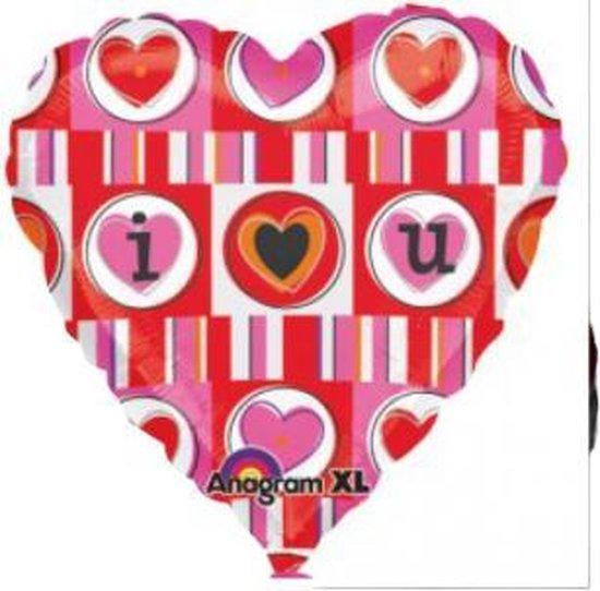 Valentijn - Helium Ballon - Hart met hartjes - Met snoepzakje als gewicht