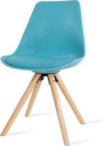 Legno Pastel kuipstoel - Turquoise zitting - Houten poten