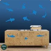 Vissen set van 11 kobalt blauwe decoratie stickers