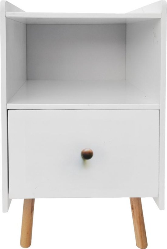 Nachtkastje Pukkie - bijzettafel - tafeltje hal woonkamer - 58 cm hoog - wit